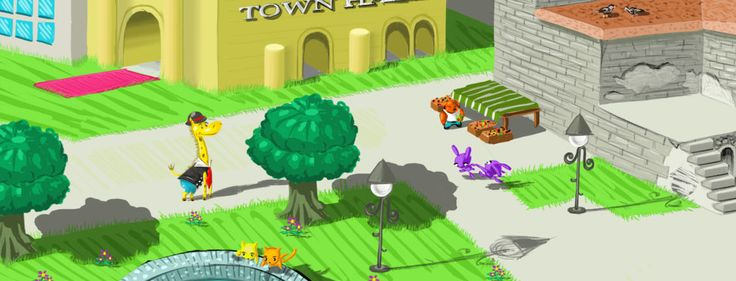 Concept art for a game #illustration #concept #digital #painting #town #animals #umberto #sammartino
