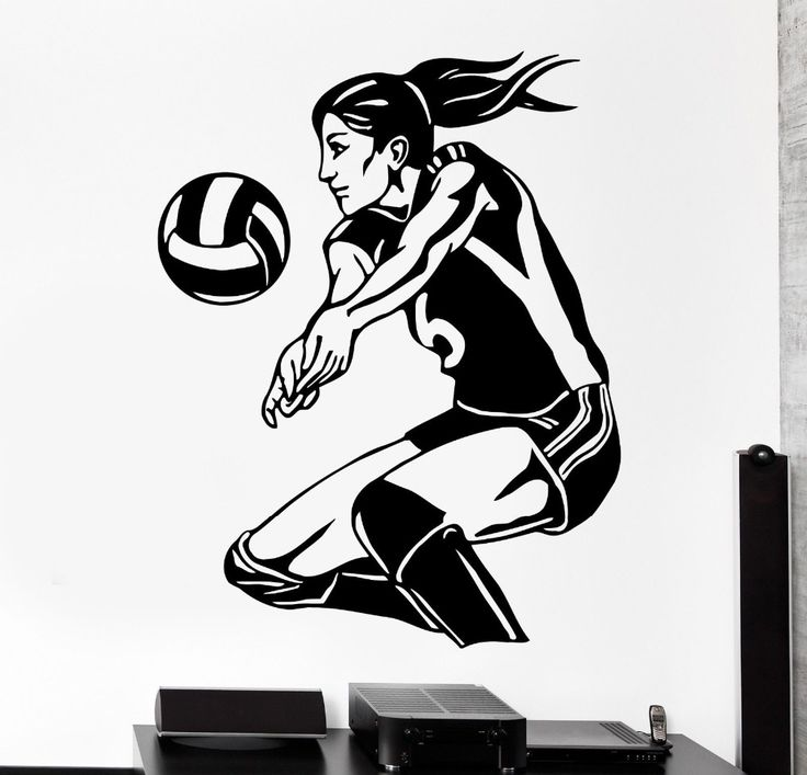 DSU Free Shipping Sports Wall Sticker Women Volleyball Player Beach Woman Girl Female Vinyl Decal Home Decal Mural KW-327