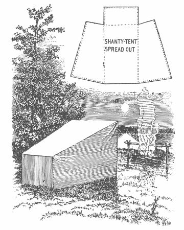 """Canvas """"shanty tent""""  I bet you could make one from a large tarp.."""