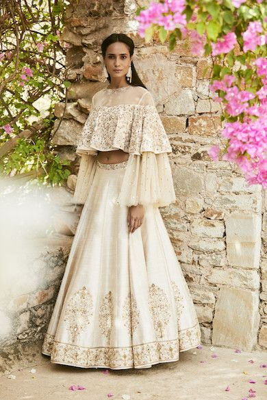 How pretty is this bell sleeved off white lehenga set by Sue Mue #Frugal2Fab
