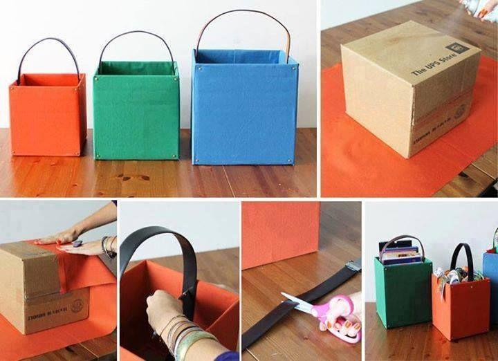Realizzare dei contenitori porta oggetti o utili alla raccolta differenziata di carta, plastica e vetro utilizzando dei cartoni