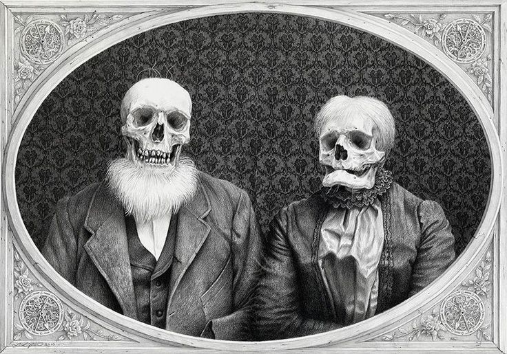 """Laurie Lipton  """"The Umpteenth Anniversary"""" 2010 – Charcoal & pencil drawing, 16″x23″"""