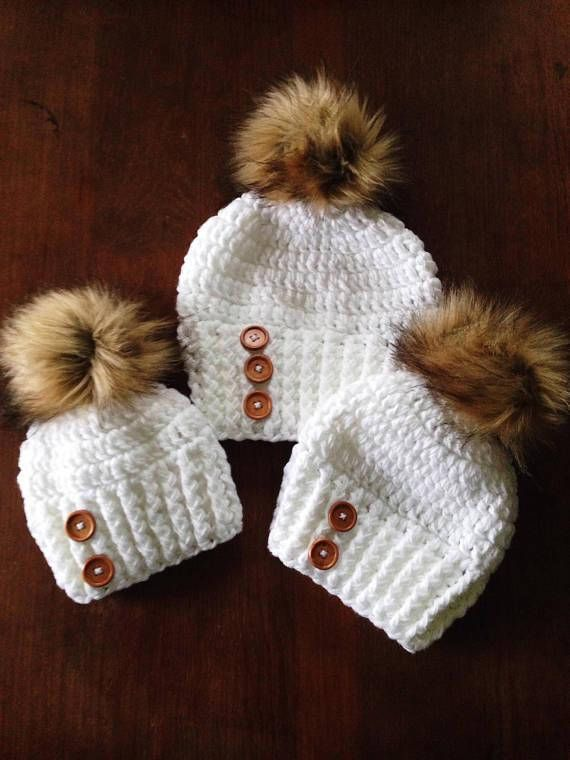 Sleigh Ride Hat Pattern. 6-12 Months, Toddler, Child/Young Teen, Adult Also included the messy bun version and tutorial to make faux fur pom poms. Any #4 yarn will work. We recommend Hobby Lobby I Love This Yarn or Walmart Mainstay Yarn. K hook This is a listing for an instant