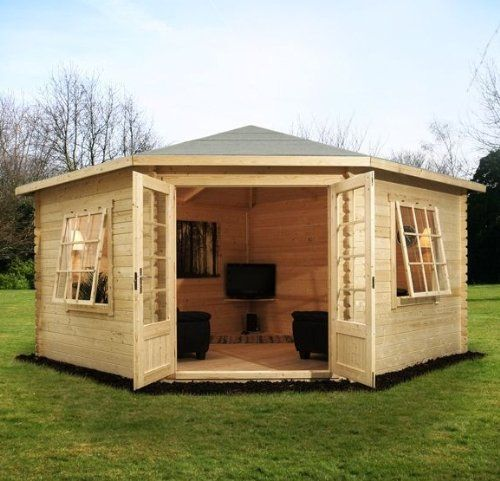 4m x 4m Corner Cabin with double glazing from Buttercup Farm