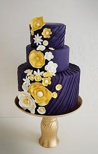 Gorgeous navy and yellow wedding cake. would be cool in teal