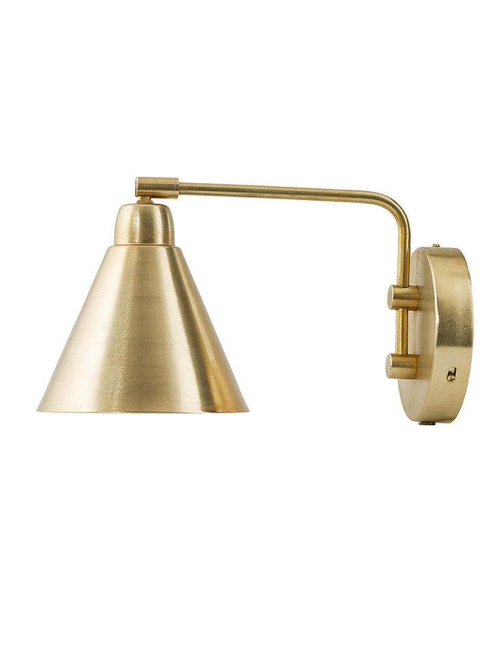 Cast from iron, this stylish Scandinavian style wall light has a brass finish and a white inner to reflect light. Click here to view our useful lighting buying guide, and take a look at our blog for ideas on how incorporate lighting into your home.