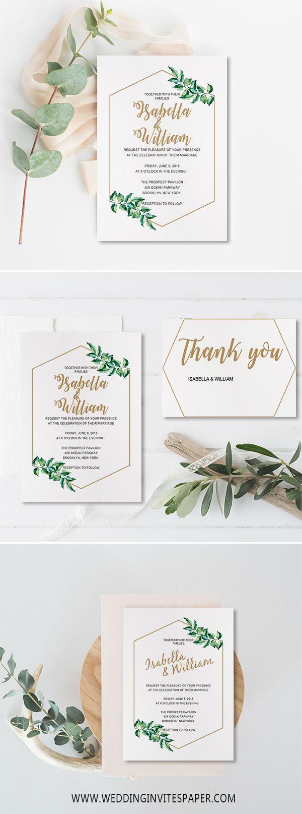 rustic chic wedding invitations/ elegant geometric green olive leaf wedding invitations