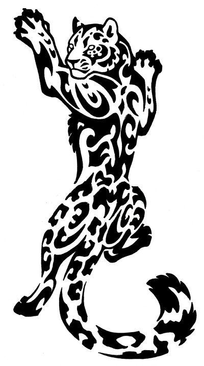 Snow Leopard big cat tribal tattoo