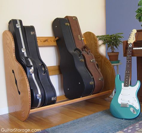 keep the mancave organized with a guitar case storage rack from http://GuitarStorage.com