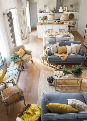 Bright yellow and mustard touches here and there t…