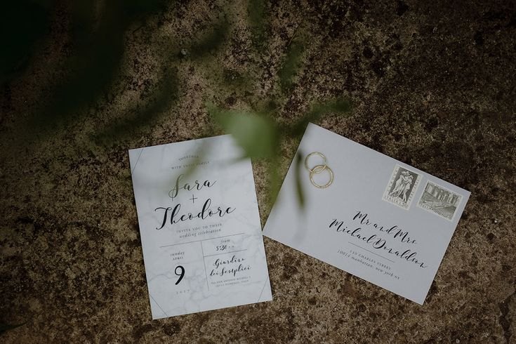 Marble themed invitation suite | Greenhouse Wedding Inspiration in Florence, Italy. Tuscany wedding photographer