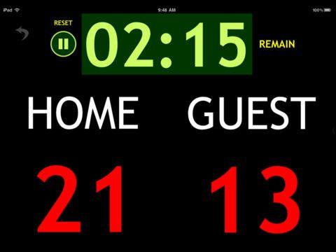 Giant Scoreboard koster 7 kr. Så kan man vise scoren og holde øje med tiden.