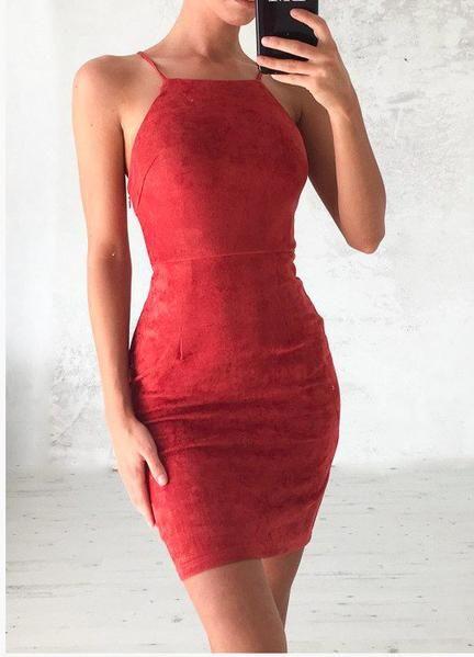 eb0eb4f117a2 Bear Shoulder Spaghetti Strap Lace Up Back Short Bodycon Dress $25.99