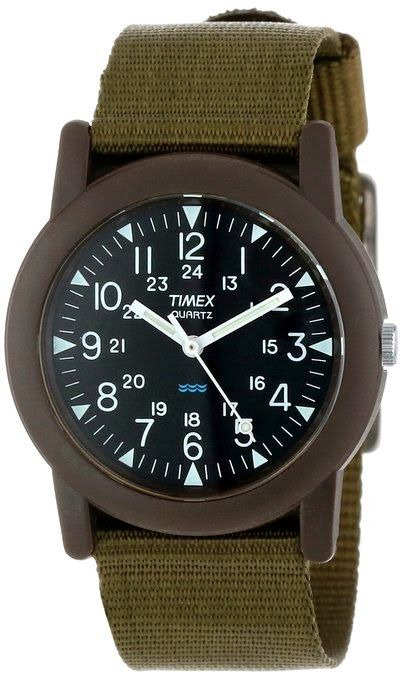 Timex Men's T41711 Camper Green Fabric Strap Watch $29.28 http://roksmu.blogspot.com/2014/07/army-watch.html