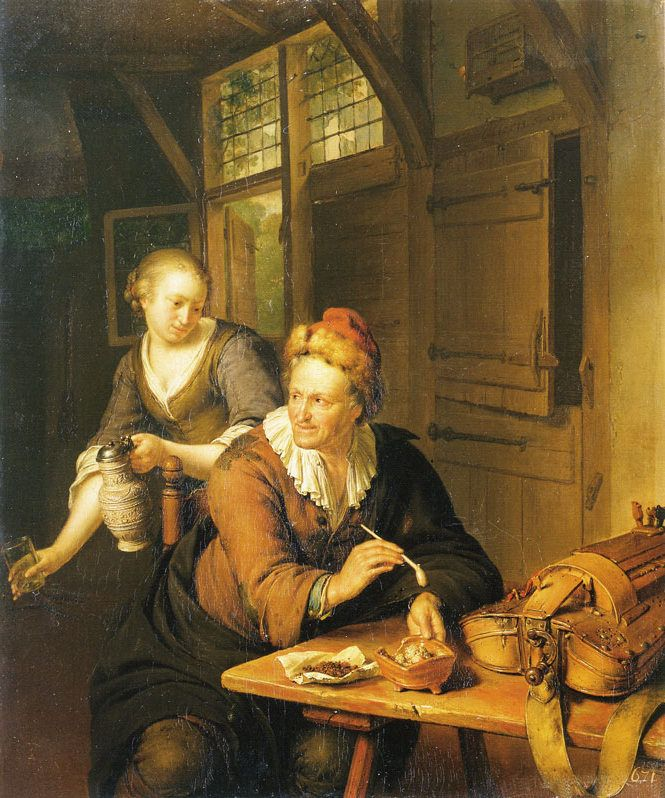 Willem van Mieris - Orgeldraaier met een dienstmeisje