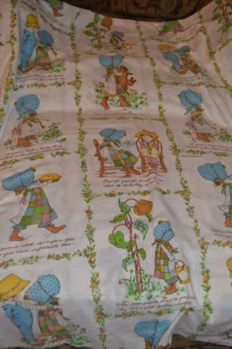 "I had these Holly Hobbie sheets when I was little.  I can still recall some of the little sayings on them, like, ""To keep a zipper on it's tracks, rub it with some candle wax"" and ""Honey's good for sweetening tea, and it's as healthy as can be!"""