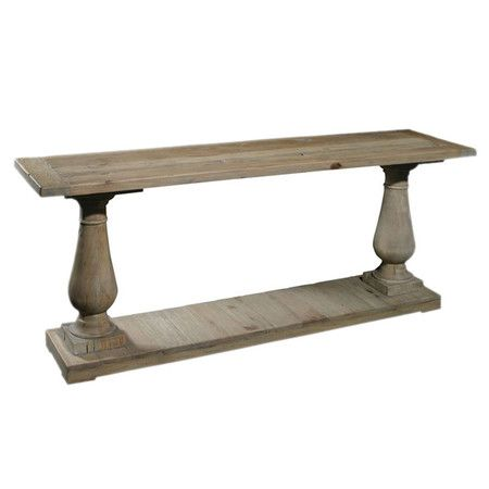 Baluster style reclaimed pine wood console table with for Wood balusters for tables