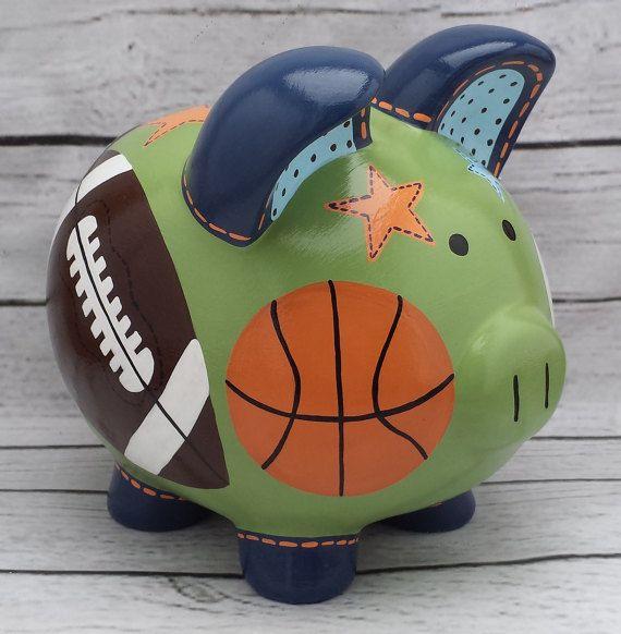 Pintado a mano de artesanos personalizadas Piggy bank Bow Wow