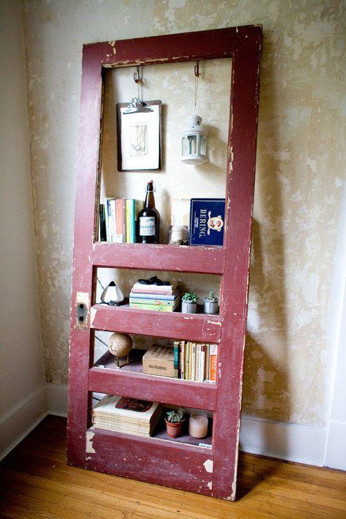 Vintage Door Repurposed Bookshelf: Ruby is Roughed-Up. $275.00, via Etsy.