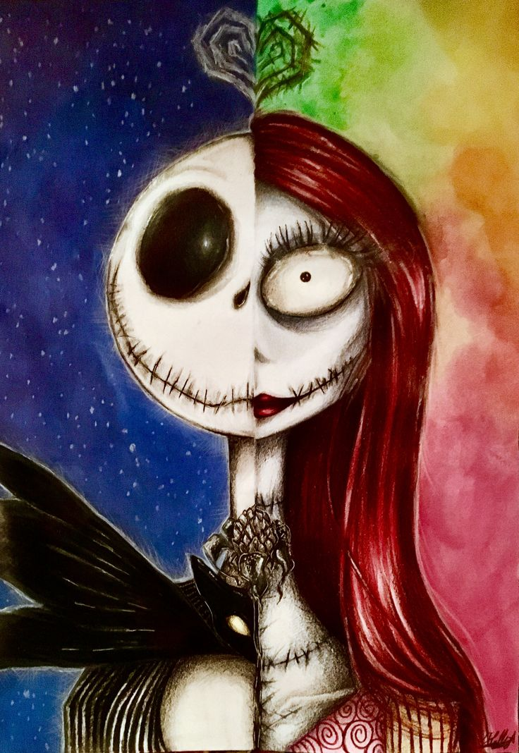 """We can live like Jack and Sally, if we want."" [Miss you- Blink 182] A personal reinterpretation of the characters from the Tim Burton's 'Nightmare before Christmas', Jack Skeleton and Sally the doll. I love this couple! Made with color pencils and watercolors ."