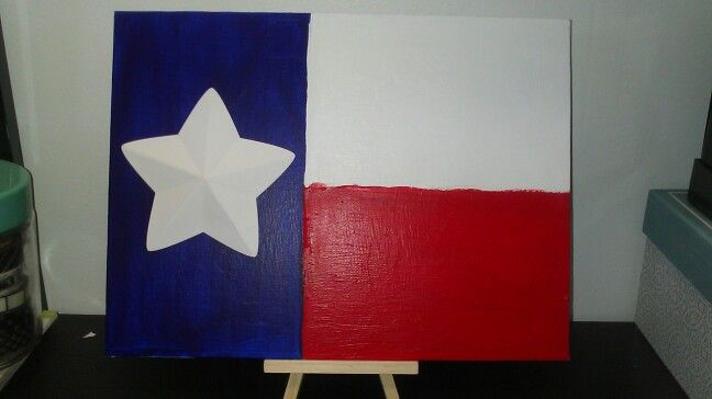 Red white and blue. Painted Texas flag with dimensional star
