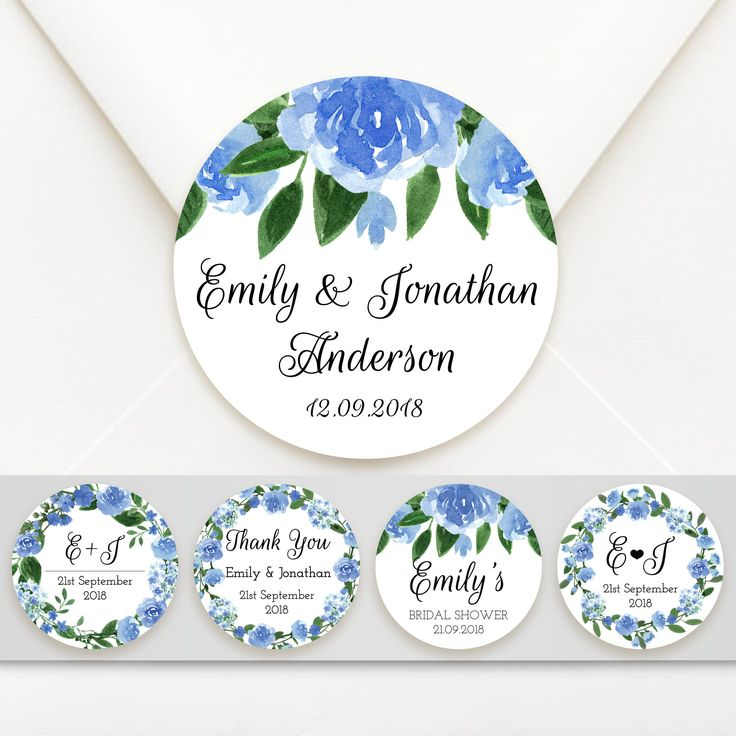 Personalised Blue Floral Circle Wedding Bomboniere Sticker Labels Envelope Seals - 5 Designs To Choose From! by PonchoponyPrints on Etsy