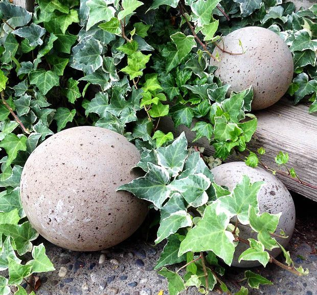 "www.thegardenglove.com/diy-concrete-garden-globes/ DIY concrete garden globes = HYPERTUFA -   March 6, 2016 - To Cover in MOSS = Take a couple small pots of Irish Moss (purchase at nursery), along w/a couple pints of buttermilk in a blender, spread on rocks, etc….*fair warning* you must not let them dry out b4 they take ""root""…. Mist them …plant on north side of house. Does not work in full sun or desert conditions!"