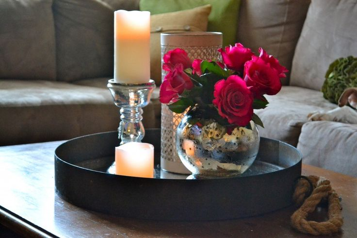 Black Metal Round Tray Coffee Table With Candle Holder And Flower Centerpieces On Wooden Table With Gray Microfiber Sofa Ideas