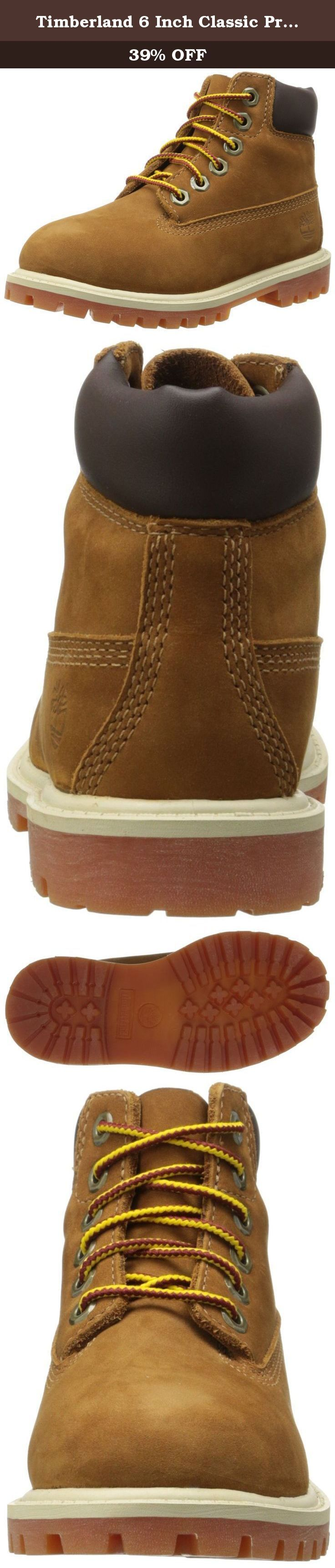 Timberland 6 Inch Classic Premium WP Waterproof Boot (Toddler/Little Kid/Big Kid),Rust Nubuck/Honey,8 M US Toddler. This sturdy light brown shoe brand Timberland is inspired by the original models of the brand and is now also available for the little ones!.