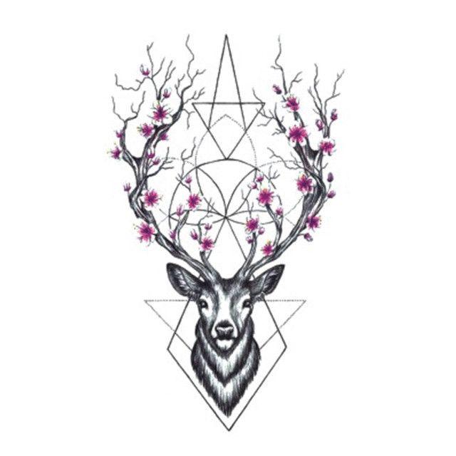 Wyuen Hot Designs Deer Temporary Tattoo For Adult Man Woman Waterproof Hand Fake Tatoo Sticker Elk Animal Body Art A-073