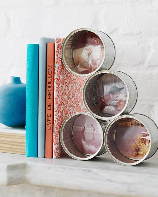 Tin Can Bookstand with Vintage Photos - http://www.sweetpaulmag.com/crafts/tin-can-bookstand-with-vintage-photos #sweetpaul