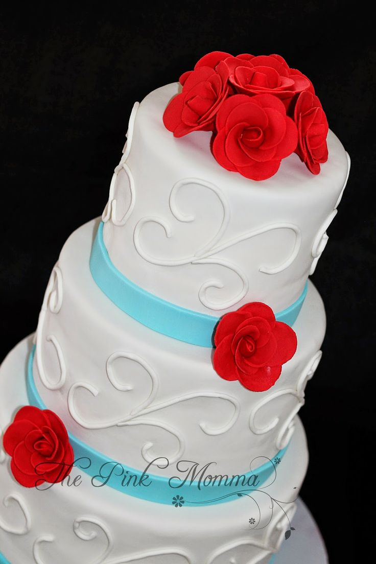 The Pink Momma: Red and Aqua Wedding Cake