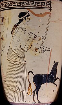 Artemis pouring a libation, c. 460-450 BC.  Festival of Artemis the Deer Huntress where she was offered cakes shaped like stags, made from dough, honey and sesame-seeds