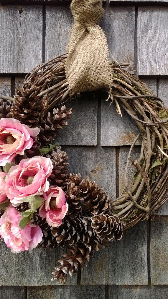 Zomer krans  Floral pinecone krans  Perfect voor de lente en