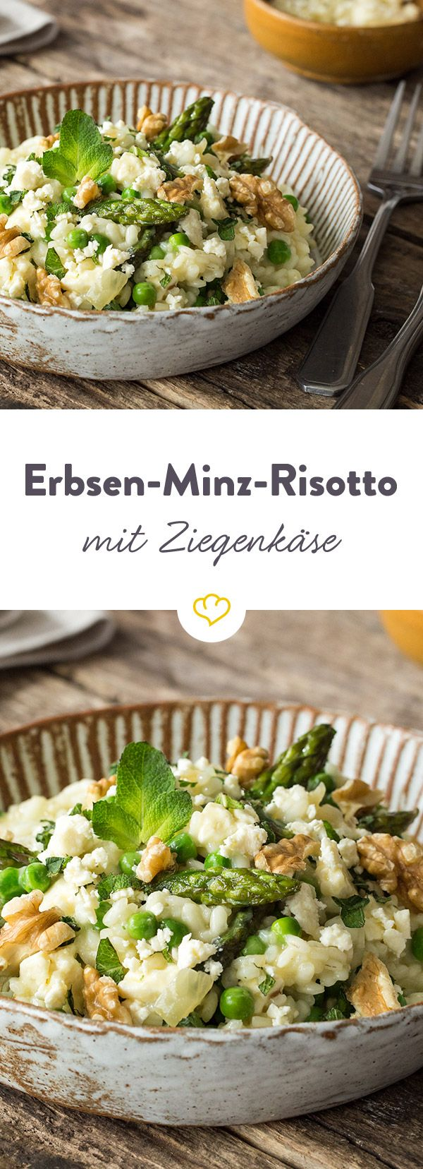 Der italienische Klassiker auf Frühling getrimmt: Risotto mit grünem Spargel, Erbsen und cremigem Ziegenkäse verfeinert. Lecker und schnell gemacht.
