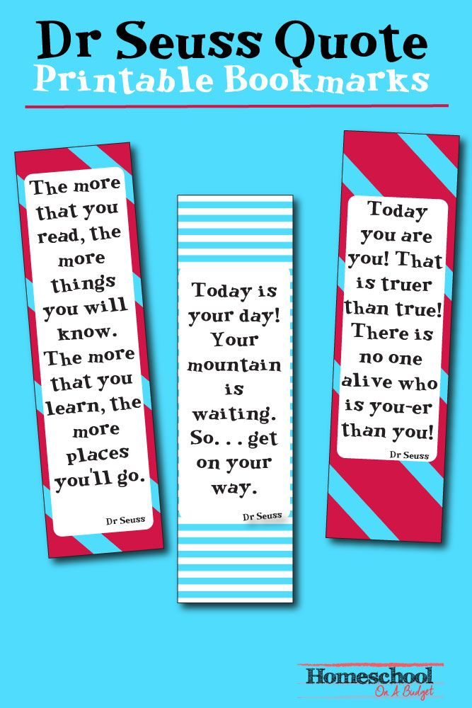 Celebrate Dr Seuss' Birthday or anyway with these FREE Dr Seuss Quote Printable Bookmarks! I love free printables like this! Great for teachers or homeschoolers!