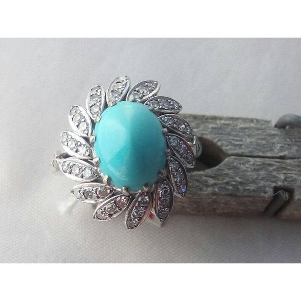 Vintage 18K White Gold Turquoise Diamond Engagement Ring 18K Gold... ($1,000) ❤ liked on Polyvore featuring jewelry, rings, 18k gold ring, diamond rings, engagement rings, diamond wedding rings and diamond engagement rings