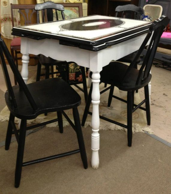 Black And White Art Deco Enamel Table By TheFunkadelicFlea On Etsy, $595.00