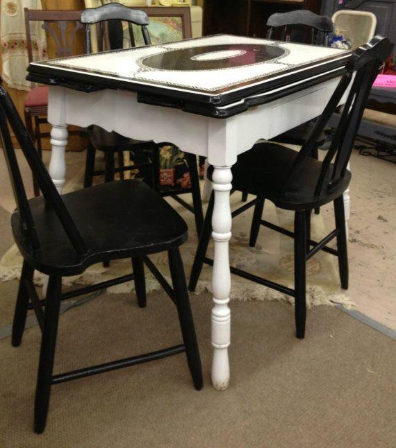 Black and White Art Deco Enamel Table by TheFunkadelicFlea on Etsy, $595.00