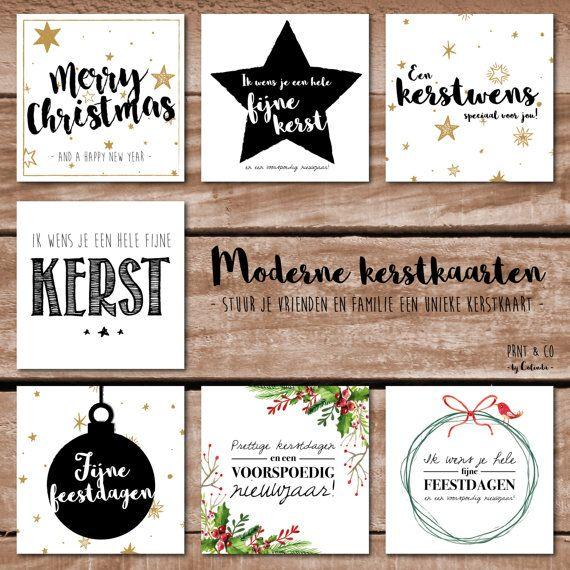 Set hippe kerstkaarten met envelop 7 stuks van PRNTenCo op Etsy