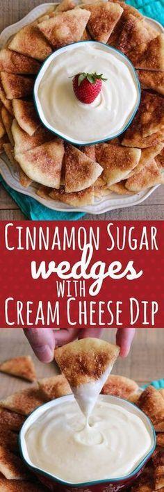 Cinnamon Sugar Wedges with Cream Cheese Dip @RhodesBread #ad