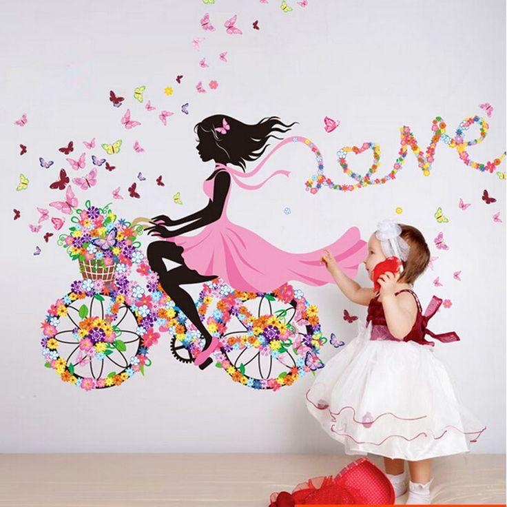 Cheap Personalità fate ragazza dei fiori di farfalla art decal wall stickers per la decorazione domestica diy mural camere dei bambini decorazione della parete, Compro Qualità Adesivi murali direttamente da fornitori della Cina:         Si può venire nel mio negozio scegliere il vostro stile preferito:             Clicca per entrare