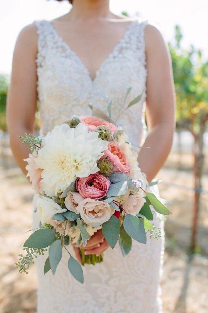 Dahlia, ranunculus, garden rose, eucalyptus bouquet by lovely little details