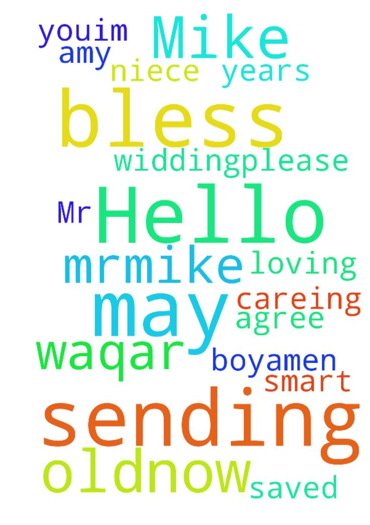 Hello Mr.Mike, may God bless you,I'm sending a prayer - Hello Mr.Mike, may God bless you,Im sending a prayer request for my niece, her name is Amy Waqar , she is of 29 years old.now she is agree for her widding.please prayer for a smart, loving, careing and saved in Jesus ,boy.Amen Posted at: https://prayerrequest.com/t/LYP #pray #prayer #request #prayerrequest