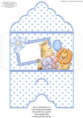 ANIMAL CREW Baby Boy or Boys Birthday Money Wallet on Craftsuprint designed by Janet Briggs - Money wallet or gift voucher holder, for a new baby boy, or a young boy's birthday.Features the animal crew with balloon. (Coordinates with 8x8 card, see multilink below) - Now available for download!