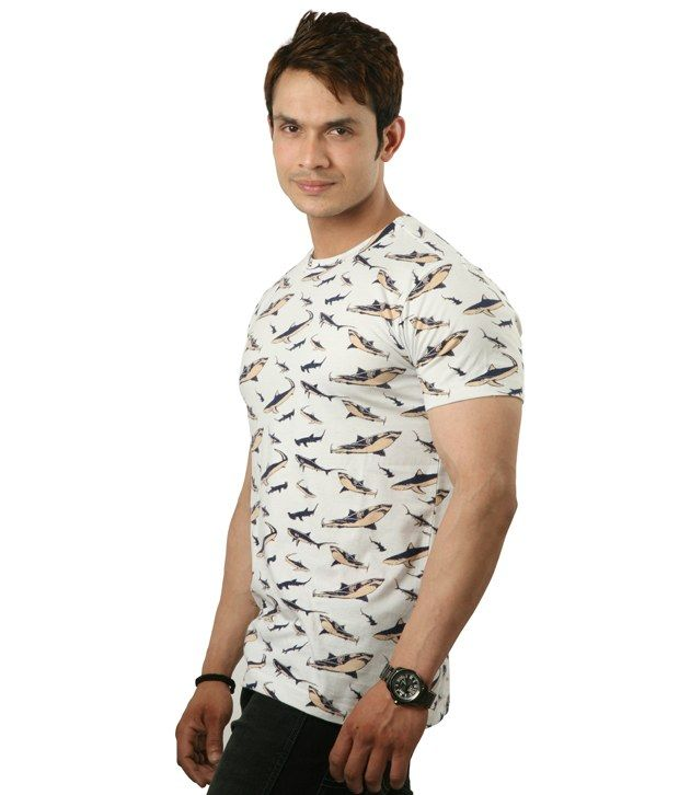 Sapphire Shark Print Half Cotton Round T-Shirt  SELLING PRICE Rs 499 Visit Now :- http://goo.gl/YPh6jd