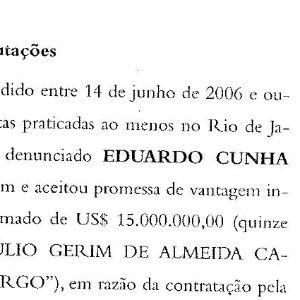 Cunha recebeu propina por meio da Assembleia de Deus, diz PGR