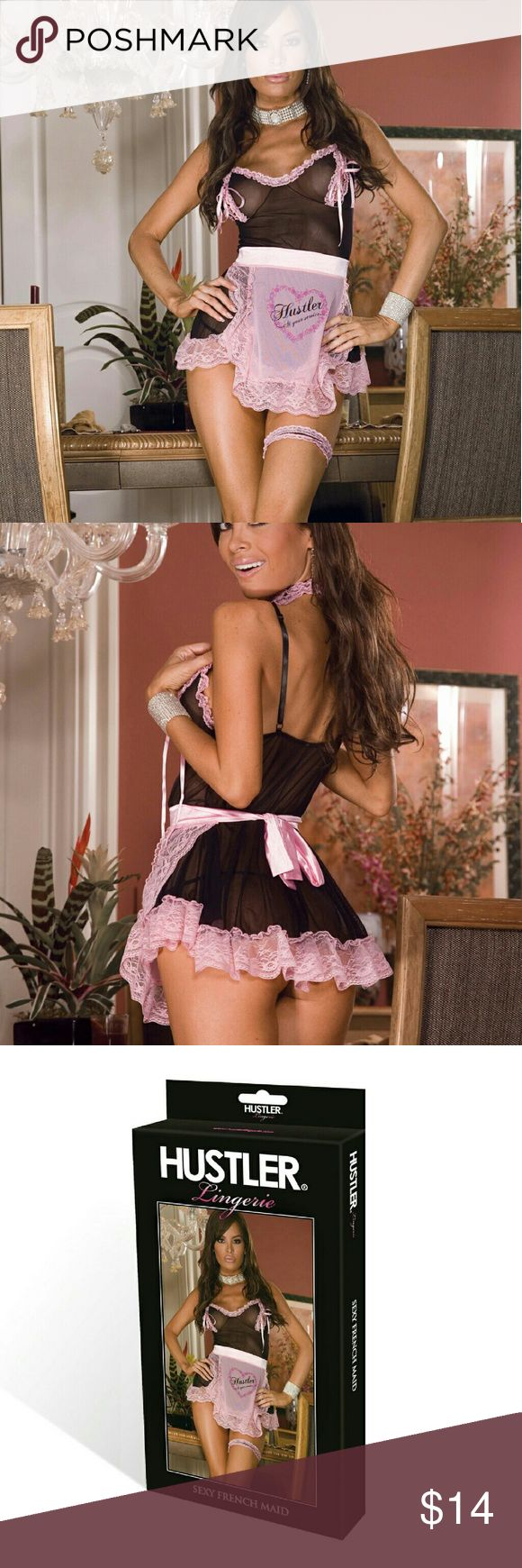 Hustler Lingeries 3PC Pink French Maid Costume Set Check into hotel Hustler in this sexy bedroom costume that maid to order! Revealing mesh costar with pink lace trim and pink satin ribbons. Peek a boo teddy come with mesh and lace choker and printed mesh lace apron. Fully adjustable bra straps. Come with matching g-string. One size fit most  (4-10) 90% polyester 10% Spandex. Hustler Lingeries  Skirts Skirt Sets