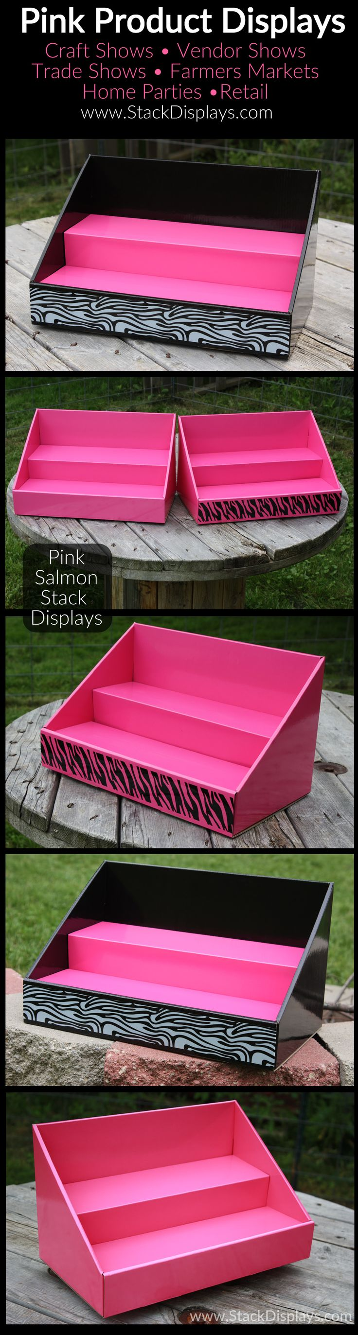 Pink Product Displays for craft shows or craft fairs, vendor events, trade shows or retail displays from Stack Displays