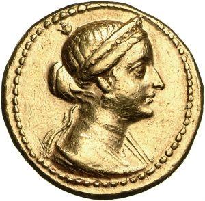 Octodracma - oro - Alessandria, Egitto (204-203 a.C.) - Arsinoe III, moglie di Tolomeo V, di profilo vs.dx. con stefané e velo - Münzkabinett Berlin